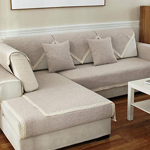 YUTJK Anti-rutsch Sofa Abdeckung, Multi-Size Sofa Schutz schonbezug, Sofabezüge, Sofa Arm Covers, Sofa Überwürfe Für Sofa, Spitze Grobe Stoff Sofabezug, nach stück verkauft, Beige