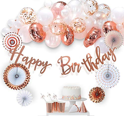VIDAL CRAFTS 60 Pcs Set, Rose Gold Birthday Decorations, Paper Fans, Happy Bday Banner, Balloon Arch, Confetti Latex and Foil Balloons, Party Decoration Supplies for Girls and Women