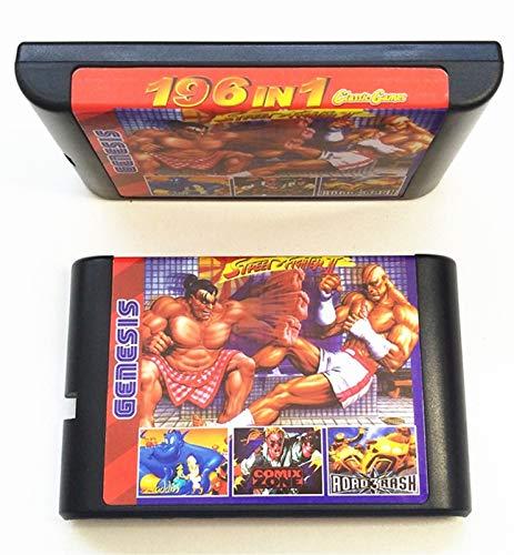 CS 196 en 1 Colección de Juegos en 1 para Sega Genesis MEGADRIVE Cartucho de 16 bits PAL y NTSC GOTWARE (Color : MD196)