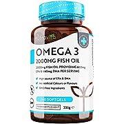 Omega 3 -Fischöl 2000 mg (660 mg EPA & 440 mg DHA) pro Portion - 240 hochdosierte Kapseln – reines Fischöl aus nachhaltigem Fischfang – getestet/zertifiziert in Deutschland – Hergestellt von Nutravita