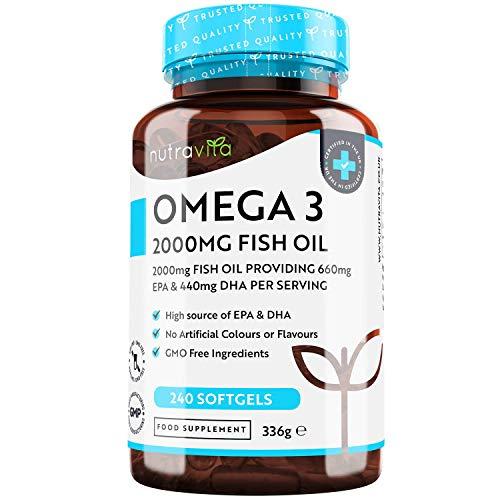 Omega 3 Cápsulas 2000 mg - 240 Capsulas Aceite de Pescado Puro - Alta Dosis 600 mg EPA y 440 mg DHA - Suministro de 4 Meses - Destilado Molecularmente Fuente de Ácidos Grasos - Hencho por Nutravita