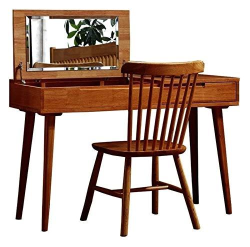 HLZY Escritorio de vanidad para Dormitorio Decoración d Cómoda de Maquillaje, con Mesa de Maquillaje de Espejo y Taburete for Mesa de Dormitorio (Color : Log Ribbon Chair, Size : 120 * 45cm)
