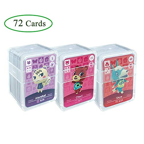 NFC Tag Game Cards for ACNH,72pcs (No. 1-No. 72) Nfc Game Cards with Crystal Case Compatible with Nintendo Switch/Wii U