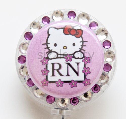 Hello Kitty Flower Lined RN Logo Nurse Rhinestone Retractable Badge Reel/ID Badge Holder