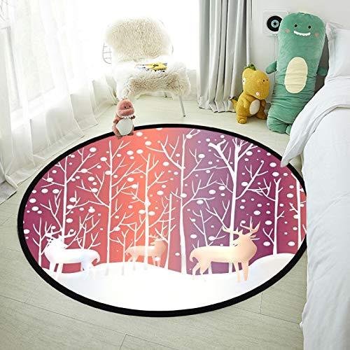 SunFay - Alfombra redonda para bebé, antideslizante, para decoración del hogar, cuarto de estar y dormitorio de Navidad, ciervos, renos, nieve, 80 x 80 cm