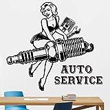 WERWN Calcomanías de Pared para niñas reparación de automóviles pistón Clave Tienda de Arte decoración Garaje diseño de Interiores calcomanías de Vinilo para Pared