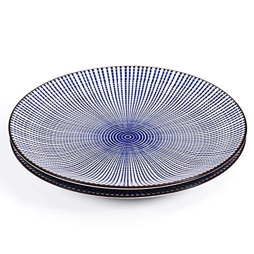 Runder Teller ( 2 Stück) /Porzellanteller/Fleischteller/Speiseteller/Sushiteller aus Edelsteinzeug 26,5cm mit blau/weißem japanischen Tokusa Streifen-Muster