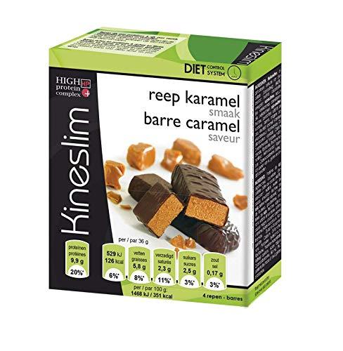 Kineslim Barres Protéinées - Barres Snack Complètes, Riches en Fibres, Pauvres en Sucres et Matières Grasses - Crisp Caramel - 4 x 36 g