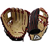 Akadema Prosoft Elite Series Baseball Infielders Gloves, Black/Sandstone/Red, Left Hand, 1...
