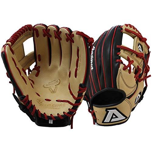 Akadema Prosoft Elite Series Baseball Infielders Gloves, Black/Sandstone/Red, Left Hand, 11.5 Inches