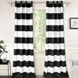DriftAway Mia Stripe Room Darkening Grommet Unlined Window Curtains 2 Panels Each 52 Inch by 96 Inch Black