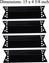 GasSaf 4 Packs Porcelain Steel Heat Plates Burner Cover Replacement for Charbroil, Nexgrill, Kenmore Sears, K-Mart, Tera Gear Model Grills(15inch x 4 5/8inch)