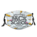 Zurück zur Schule Schriftzug mit Graphitstift Personalisierte Mundschutz Unisex Anti-Staub Wiederverwendbarer Mundschutz-Schwarz-1PCS