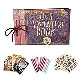 DOXUNGOO Nuestro libro de aventuras para álbumes de recortes, película hecha a mano, diseño de aniversario, álbum de fotos retro con caja de regalo de almacenamiento (libro de aventuras retro)