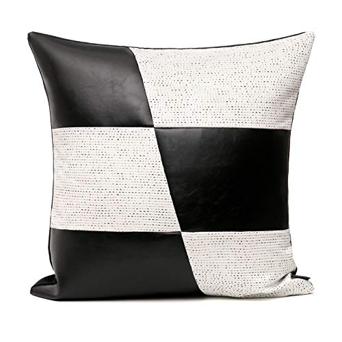 Cushion Covers Leather Splice Bedroom Sofa Decoration Square Pillowcase White 45X45Cm With Core