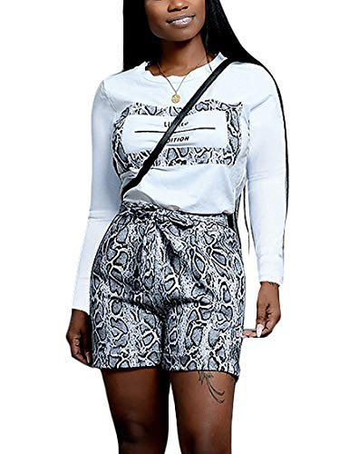 Women's 2 Piece Outfits - Snakeskin Letter Print Long Sleeve Pullover Sweatshirt + Snake Skin Tie Waist Shorts Set Tracksuit Black Medium