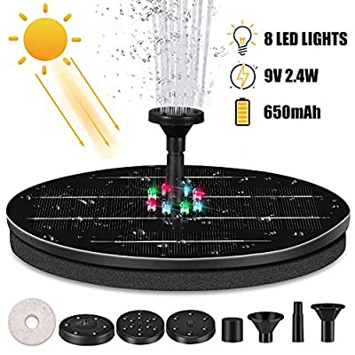 OneV FT Solar Powered Fountain Pump for Bird Bath with 8 LED Lights Solar Fountain with 4 Nozzle, Free Standing Floating Solar Powered Water Fountain Pump for Bird Bath, Garden, Pond, Pool, Outdoor