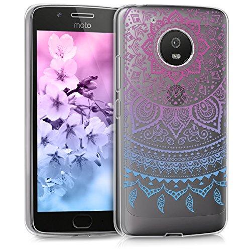 kwmobile Case kompatibel mit Motorola Moto G5 - Hülle Handy - Handyhülle - Indische Sonne Blau Pink Transparent