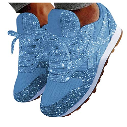 PPangUDing Damen Pailletten Sneaker Flach Schuhe Freizeit Schnürer Sportschuhe Glänzende Schuhe Bequeme Laufschuhe rutschfeste Plateauschuhe Bequeme Leichte Turnschuhe