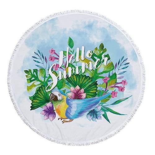 IAMZHL Toalla de Playa Redonda delicadas Impresiones FloralesMicrofibra Toallas de baño de Tela sin Arena para Alfombra al Aire Libre Sala de Estar decoración del hogar-a6-150x150cm