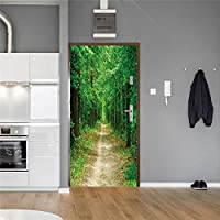 3Dドア壁壁画壁紙 保護の目緑の木ドアの改修壁画デカールポスター家の装飾ドアの装飾