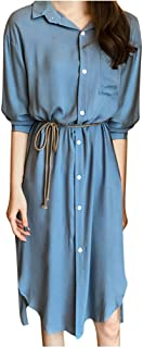 Xinantime Womens Solid T-Shirt Dress Casual Lapel Buttom Down Mid-Length Lady Dresses with Pocket