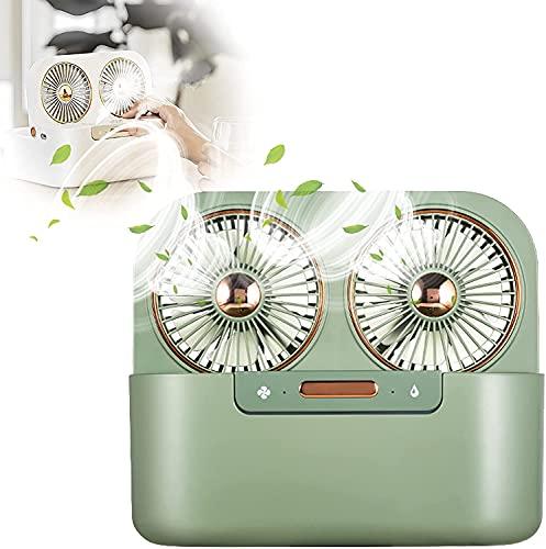LSWY Ajuste de la Tabla USB 90 ° Ajuste, Mini Plegable Ventilador USB Femenino Circulación de Aire de refrigeración, Ventilador de batería Retro Mira Spray Humidificación Bajo Ruido, Blanco