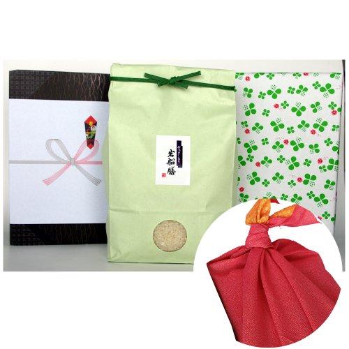 新潟県産コシヒカリ (有機肥料・米袋:緑・包装紙:緑・風呂敷:赤)3キロ