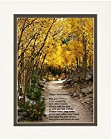 """Anniversary Gift for Couple. Aspen Path Photo with""""Happy Anniversary"""" Poem, 8x10 Double Matted. Special Gift for Anniversary [並行輸入品]"""