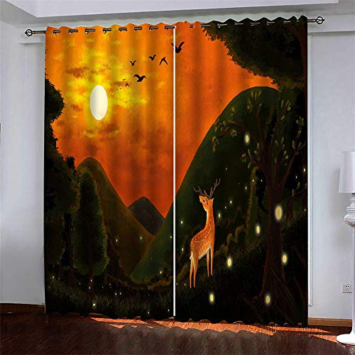YUNSW Moonlight 3D Digital Printing Polyester Fiber Curtains, Garden Living Room Kitchen Bedroom Blackout Curtains, Perforated Curtains 2 Piece Set