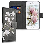 kwmobile Carcasa Compatible con Apple iPhone 6 / 6S - Funda de Cuero sintético con Magnolias - Case con Tarjetero
