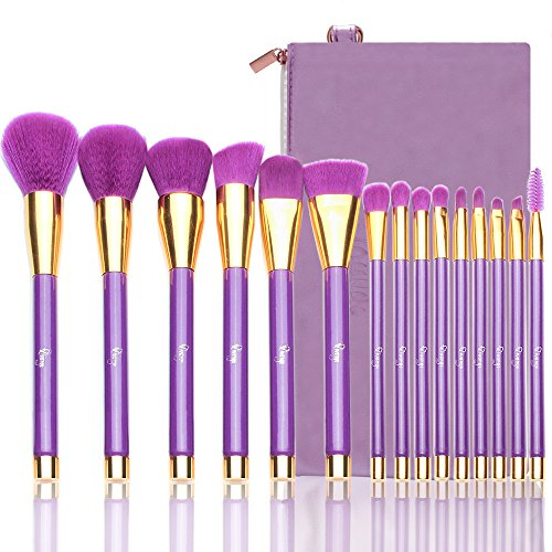 Qivange Makeup Brush Set, Professional Makeup Brushes with Cosmetic Bag(Purple with Gold, 15 PCS)
