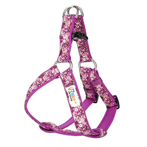 Rnker Step-in Harnesses, no Pull, Flowers Pattern by hot Stamping, Neoprene Padded, Adjustable Walking, Training Dog Harness for Small Dogs (Purple)