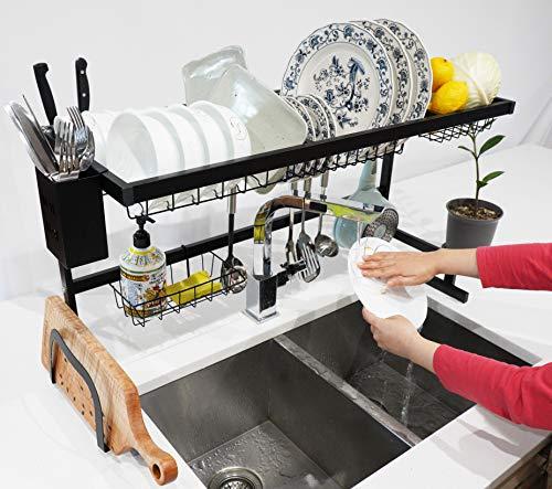 Livingsense - Escurreplatos para fregadero (85,6 cm) – Escurreplatos multiusos, escurridor de cocina, organizador de fregadero de cocina, estante de secado de platos sobre el...