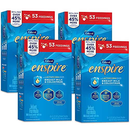 Enfamil Enspire Baby Formula with Immune-Supporting Lactoferrin, Brain Building DHA, Our Closest Formula to Breast Milk, Refill Boxes, 30 Oz (Pack of 4)