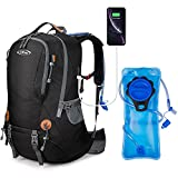 G4Free 50L Hiking Backpack Waterproof Daypack with 2L BPA Free Bladder for Outdoor Camping Climbing Backpack with Rain Cover for Men Women(Black)