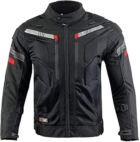 Chaqueta De Moto De Verano para Hombre con Protecciones Aprobadas por La CE Chaqueta De Moto Impermeable Y Transpirable con Reflectante Nocturno