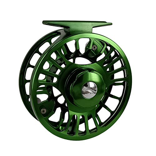 Riverruns Z Fly Fishing Reel Super Light CNC Machined Second Generation Sealed Carbon Disc Super Larger Arbor 3/5, 5/7, 7/9 Ideal Both Fresh Water & Saltwater Fly Fishing (Green, 7/9)