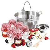 VonShef Jam Making Kit- Starter Set Bundle includes 9L Maslin Pan (Induction Hob Suitable), 6x 450ml Glass Jars & Lids, Thermometer, Preserving Spoon & Funnel– For Homemade Jams, Chutneys & Preserves