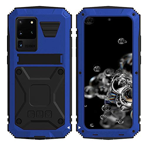 Simicoo Samsung S20 Plus Metal Bumper Silicone Case Hybrid Military Shockproof Heavy Duty Rugged Defender case Built-in Screen Protector Stand Camera Lens Protector Cover for S20 Plus (Blue)