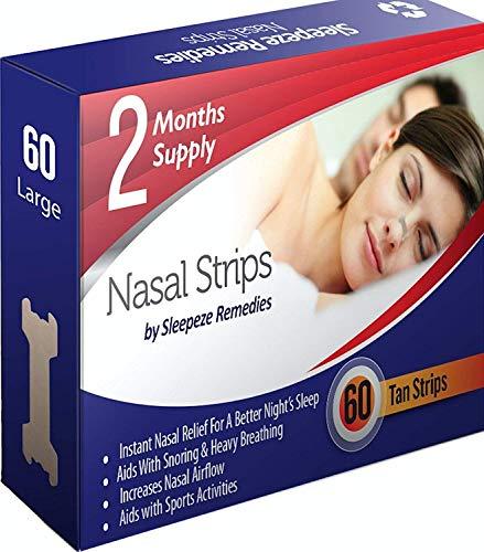 Nasenpflaster groß x60 | Sleepeze Remedies® Nasenstrips stoppen das Schnarchen und helfen Ihnen direkt durch die Nase zu atmen | Premium Qualität Nasenpflaster Schnarchstopper (Groß x60 Neu)