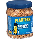Planters Cashew Halves & Pieces, 10 Ounce. Resealable Canister - Energy Snacks & Snacks for Adults - Shareable Snacks - Kosher