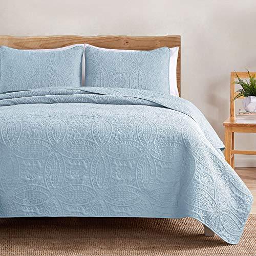 VEEYOO - Juego de edredones ligeros de 3 piezas, Colcha de microfibra transpirable para cama de matrimonio., Azul Bebé - Borde recto, Double (230x250cm / 92x100')