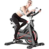 YI'HUI Bicicleta estáticas para Fitness, Bici de Spinning, Calidad Profesional, Rueda de inercia bidireccional,Transmisión por Cadena Fija,Asiento Ajustable, Pantalla LCD