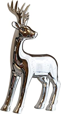 WINOMO Christmas Reindeer Figurines Deer Sculpture Reindeer Decor Animal for Home Gifts Souvenirs Giftbox Silver