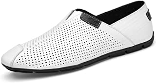 Loafer Flats Driving Loafer for Men Summer Boat Shoes Slip on Genuine Leather Collision Avoidance Toe Stitched Casual CWCUICAN (Color : White, Size : 42 EU)
