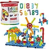 deAO Tubos de Construcción Tuberías de Juguete para el Aprendizaje y Actividades Creativas Infantiles Conjunto Stem de Formas Multicolores, Puzle 3D, Incluye 180 Piezas
