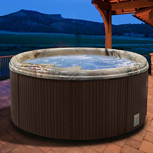 American Spas AM-511RM 5-Person 11-Jet Round Spa, Plug-in-Play System, with Multi Color Spa Light, Tuscany Sun and Mahogany