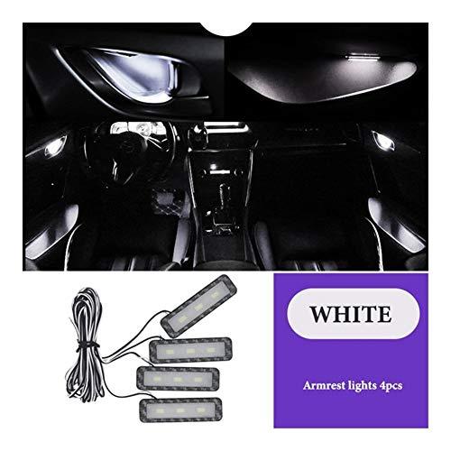 Luz de bienvenida a la puerta Mango 4Pc LED de luz ambiental interior del coche Tazón Luz interior Apoyabrazos Luces de puerta Luces de pasamanos luces decorativas luz del coche de la lámpara Luces de
