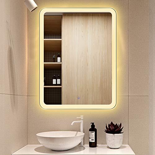 BAIHAO Espejo de baño Inteligente Rectángulo de Montaje en Pared Espejo de tocador táctil antiniebla con luz LED Espejo de baño de iluminación de Doble Color Impermeable